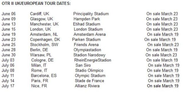 jay z beyonce on the run 2 european tour dates