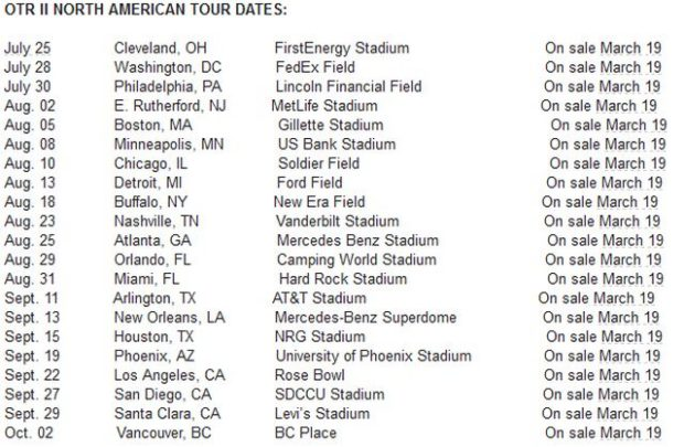 jay z beyonce on the run 2 north american tour dates