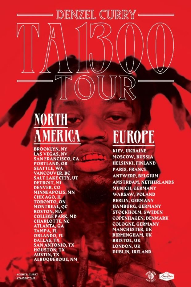 denzel curry ta13oo tour dates